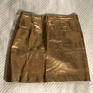 Club Monaco Copper Metallic Mini Skirt